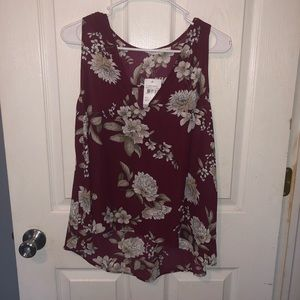 Lush hi low women's floral tank top